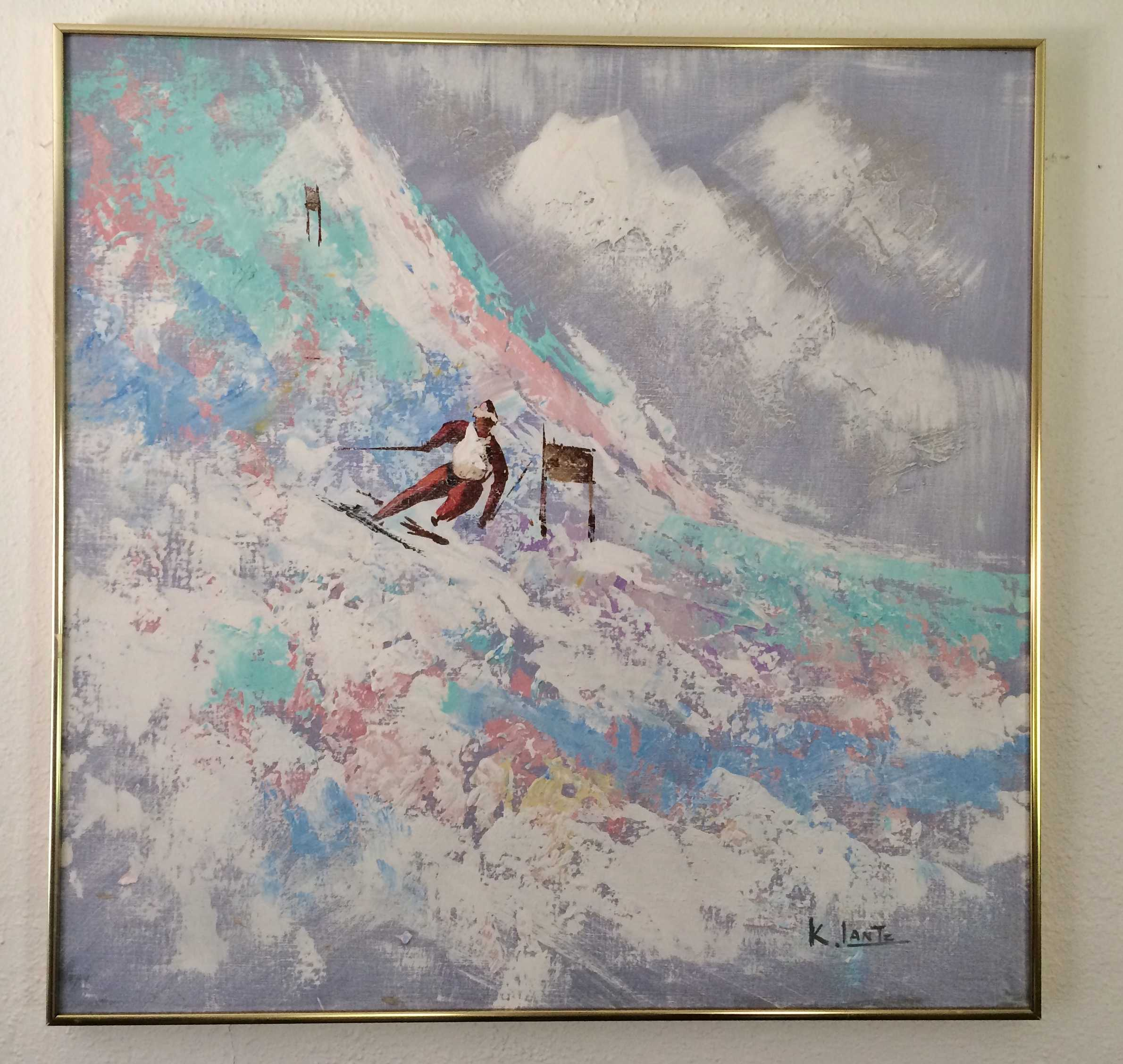 Unique ski art page 2 ski art collection painting by artist k lantz with lots of texture and life please see detailed image for condition measures 30 x 30 in metal frame with no glass jeuxipadfo Choice Image